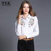 New Spring White Formal OL Shirts For Women Lapel Collar Floral Embroidery Uniform Blouse Female Slim Fit Long Sleeved Top Shirt(China)
