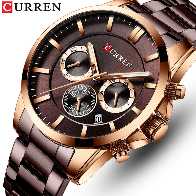 CURREN Brand Men Watches Business Quartz Waterproof Watches Men's Stainless Steel Band Auto Date Wristwatches Relojes Masculino