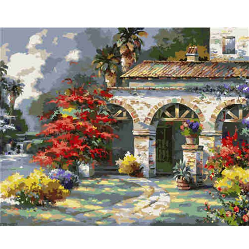 Courtyard Villa Landscape Painting By Numbers Oil On Canvas Handmade Nordic Decoration Home