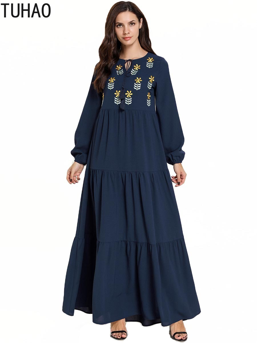 Stylish Large Size Elegant Woman Maxi Dress Blue Floral Embroidered Long Sleeve Dress Round Neck Muslim Casual Robe <font><b>T7800</b></font> image