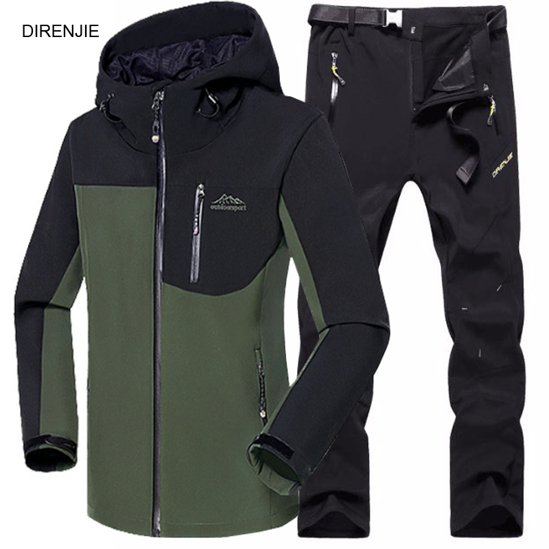 5XL Man Fishing Winter Waterproof Trekking Camping Hiking Climb Fleece SoftShell Outdoor Jacket Pant Sports Jacket+Trouser Suit