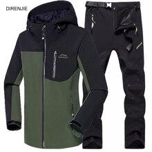цена на 5XL Man Fishing Winter Waterproof Trekking Camping Hiking Climb Fleece SoftShell Outdoor Jacket Pant Sports Jacket+Trouser Suit