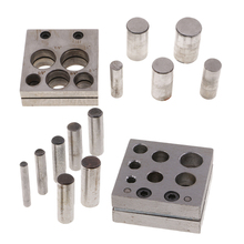 купить 5 Holes& 7 Holes 6mm - 25mm Size Disc Cutter Set with Round Metal Punches & Cutter Block for Jewelry Making Design Hand Tools онлайн