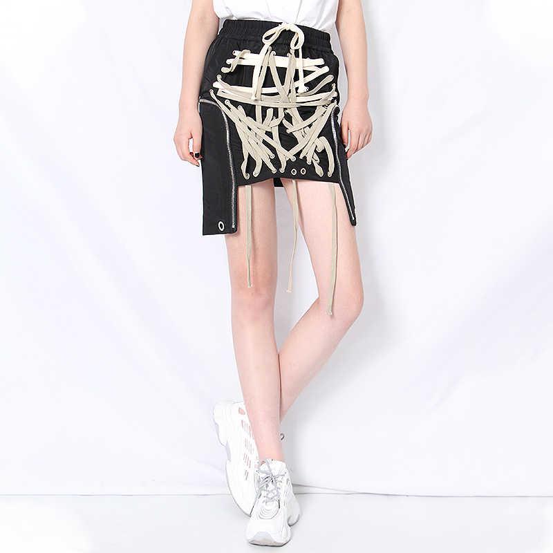 TWOTWINSTYLE Phối Ren Nơ Thun Cao Cấp Dạo Phố Váy Nữ Rỗng Ra Không Đều HEM Váy Nữ New 2020