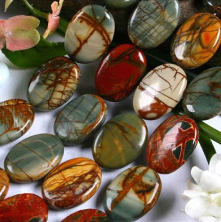 """beads NATURAL 10X14MM MULTI-COLORED PICASSO JASPER OVAL LOOSE BEAD STRAND 15"""" #@"""