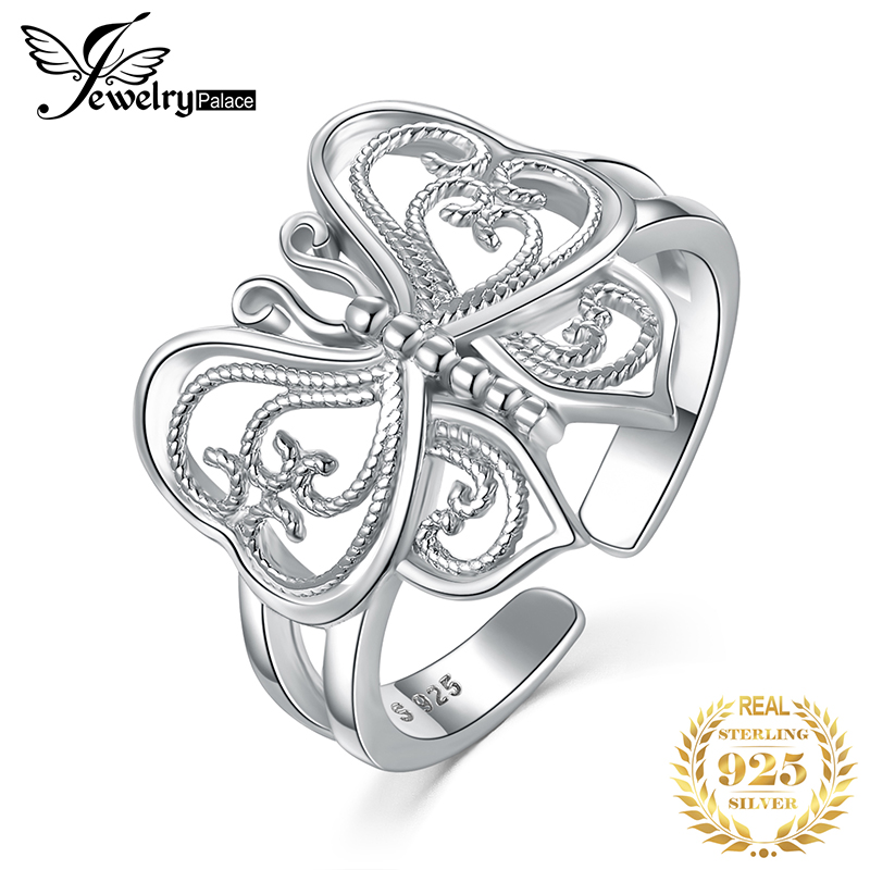 JewelryPalace Butterfly Cubic Zirconia Rings 925 Sterling Silver Rings For Women Stackable Ring Silver 925 Jewelry Fine Jewelry