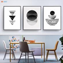 Черно белый настенный постер в стиле ретро с мраморным геометрическим
