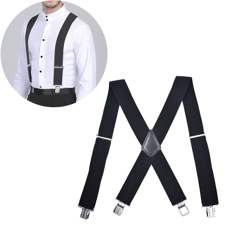 High 50mm Wide Elastic Adjustable Men Trouser Braces Suspenders X Shape With Strong Metal Clips DSM