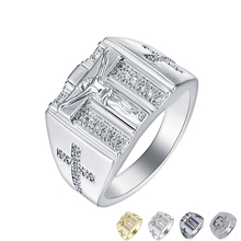 Fashion Gold Silver Color Jesus Christ Church Ring Crystal Carving Cross Ring Punk Religion Jewelry For Male Female