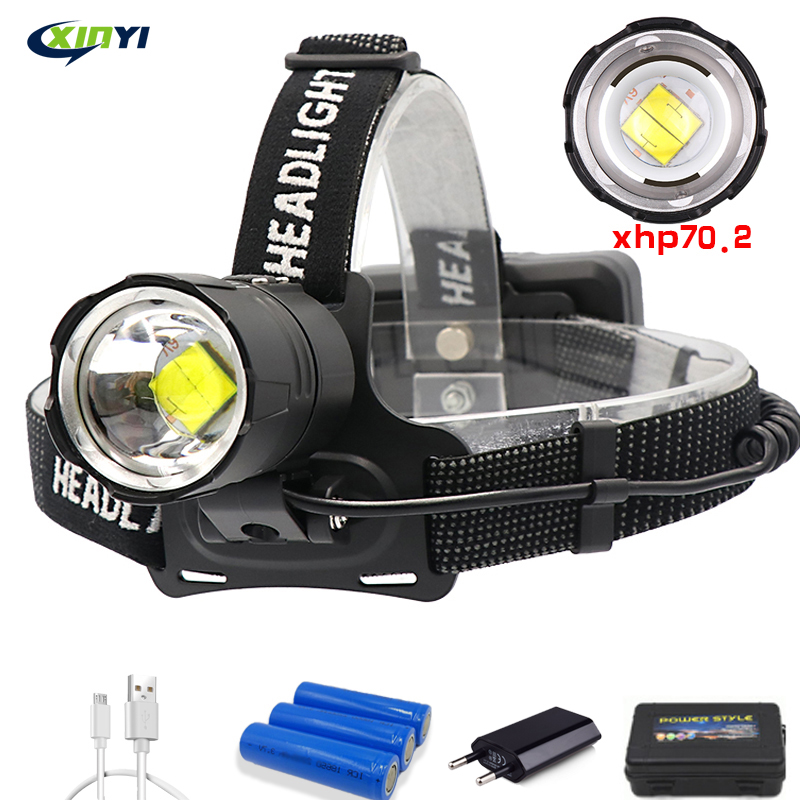 90000LM Powerful XHP70.2/XHP50 Led Headlamp Headlight 3Mode Zoom Head Lamp Flashlight Torch Lantern For Outdoor Fishing Camping