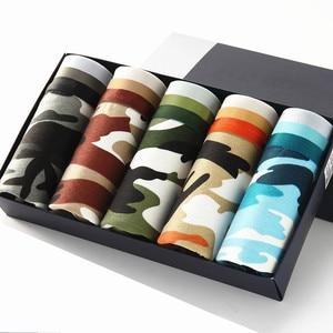 Image 1 - Nanjiren Calzoncillos Bóxer de algodón peinado para hombre, ropa interior transpirable, lote de 5 unidades