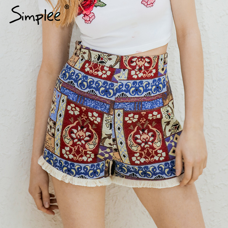 Simplee Fringe Ethnic Flower Summer Shorts Women Zipper Boho Chic High Waist Shorts Female Vintage Folk Mini Shorts Bottom 2018