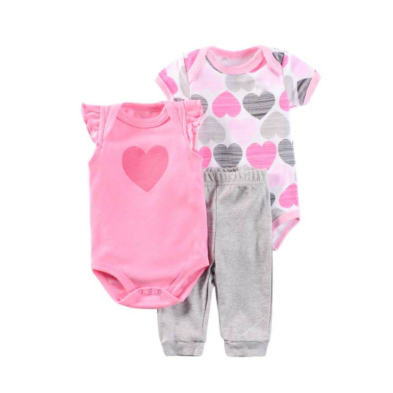 2020 Baby Girl Clothes Unisex Bodysuits+Pants Baby Sets 3PCS Unisex Cotton Newborn Baby Trousers Baby Boy Clothes Roupa bebe 1