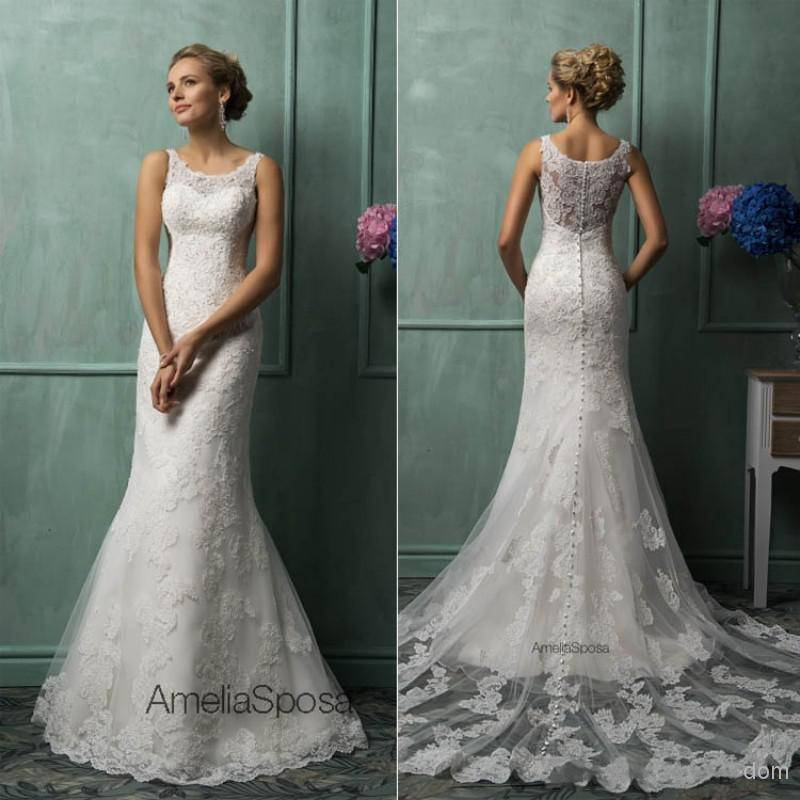Vestido De Noiva 2019 Lace Wedding Dresses Scoop Sheer Back Covered Button Mermaid New Hot Custom Glamorous Bridal Gowns