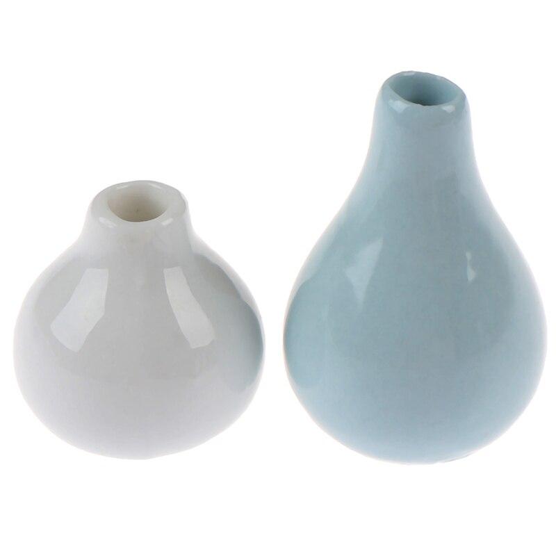 2Pcs 1:12 Dollhouse Miniature Dollhouse Vases Art Vase Pot Exquisite Workmanship Baby DIY Furniture Toys Cute Style