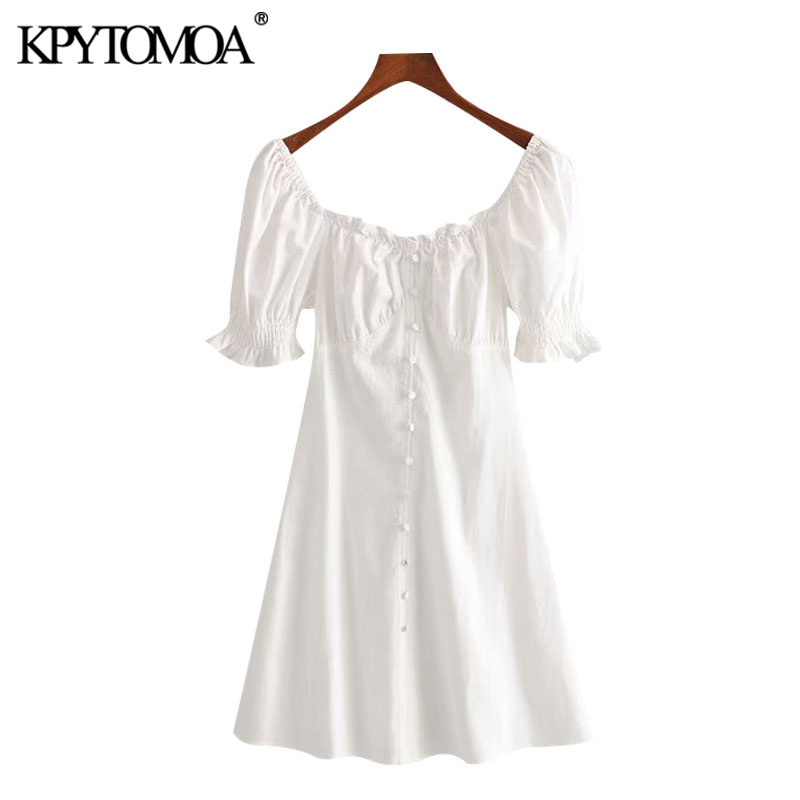 KPYTOMOA Women 2020 Chic Fashion Button-up Ruffles Mini Dress Vintage Square Collar Short Sleeve Side Zipper Female Dresses