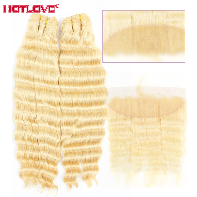 Brazilian Honey 613 Blonde 2 Bundles with Frontal Closure with Baby Hair Hotlove Deep Wave Blonde Bundles With Frontal Remy Hair image