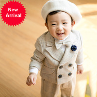 Suit for Boys Boy Costume Infant Garcon Mariage Boys Suits for Weddings Party Dress Khaki plaid Clothes sets baby boy clothing
