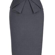 Formal Office Business Women Skirt Elastic Plain Formal Office High waist Business Casual Skirt High Waist Pencil Cut