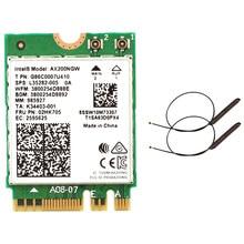 Двухдиапазонный Wi-Fi 2,4 Гбит/с 6 AX200NGW 802.11Ax/Ac 2x2 Wi-Fi AX200 NGFF M.2 Bluetooth 5,0 сетевая карта Wlan + антенна