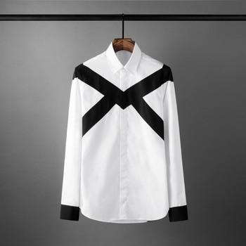 New White Mens Shirts Luxury Black Contrast Color Splicing Long Sleeve Mens Dress Shirts Fashion Slim Fit Party Man Shirts