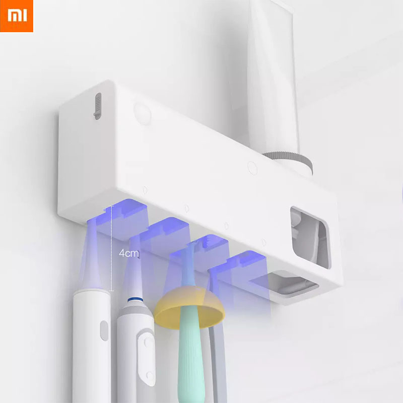 Xiaomi Dr Meng Smart Disinfection Toothbrush Holder UV Sterilizer With Cup Wall Sticker Set Toothpaste Dispenser image