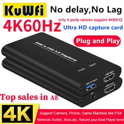 KuWFi 4K Video Capture USB3.0 HDMI naar USB Video Capture Card Dongle Game Streaming Live Stream Broadcast met MICinput