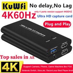 KuWFi 4K captura de vídeo USB3.0 HDMI a USB Tarjeta de captura de vídeo Dongle juego Streaming transmisión en vivo con MICinput