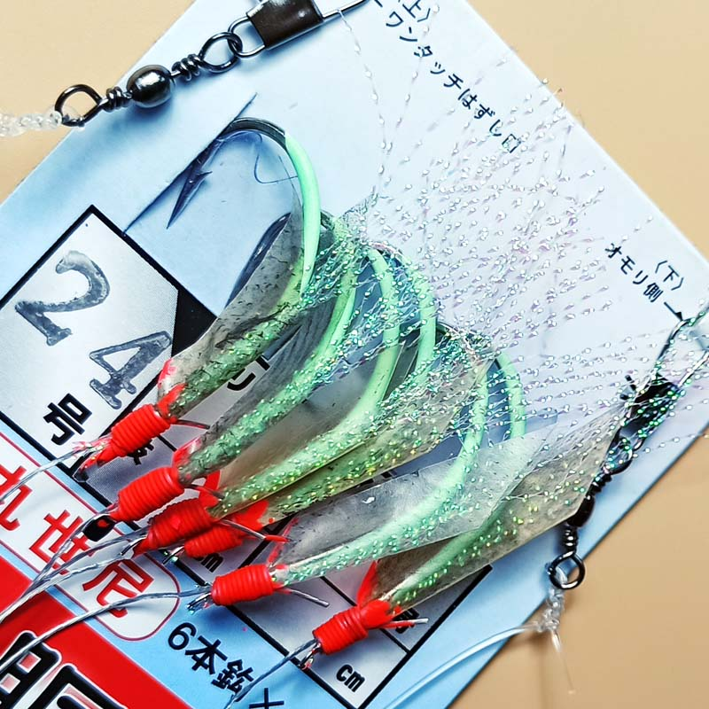 Size 16# 18# <font><b>20</b></font># 22# <font><b>24</b></font># 26# Glow Lumious wire line real fish skin sabiki rigs sea rigs strong fishing hook beans glow image