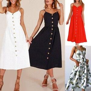 2019 New Women Print Floral Stripe Long dress Sexy V-Neck Sleevele Button Beach Casual Boho Midi Dress Plus Size 3XL vestidos(China)