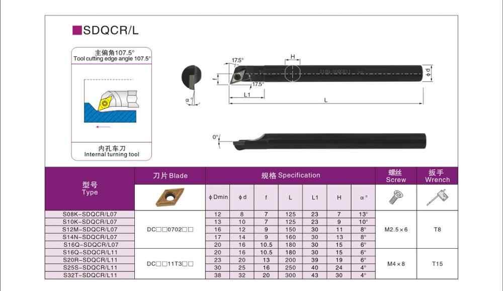1P S08K-SDQCL07 CNC lathe internal tool holder boring bar  For DCMT07 Insert