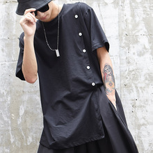 Men Black T-shirt Male Casual Loose Short Sleeve Punk Style