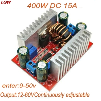 цена на DC 400W 15A high power constant voltage constant current boost converter power module LED driver DC8.5V-50V to 10-60V