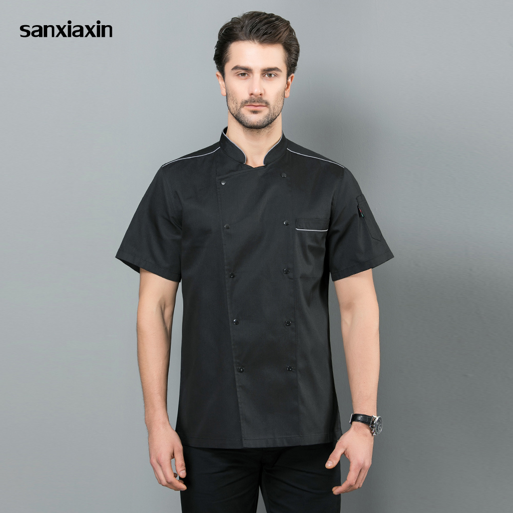 Food Service Short Sleeved Restaurant Uniforms Shirts Unisex Hotel Kitchen Work Shirts Chef Jacket White Black Chef Work Clothes