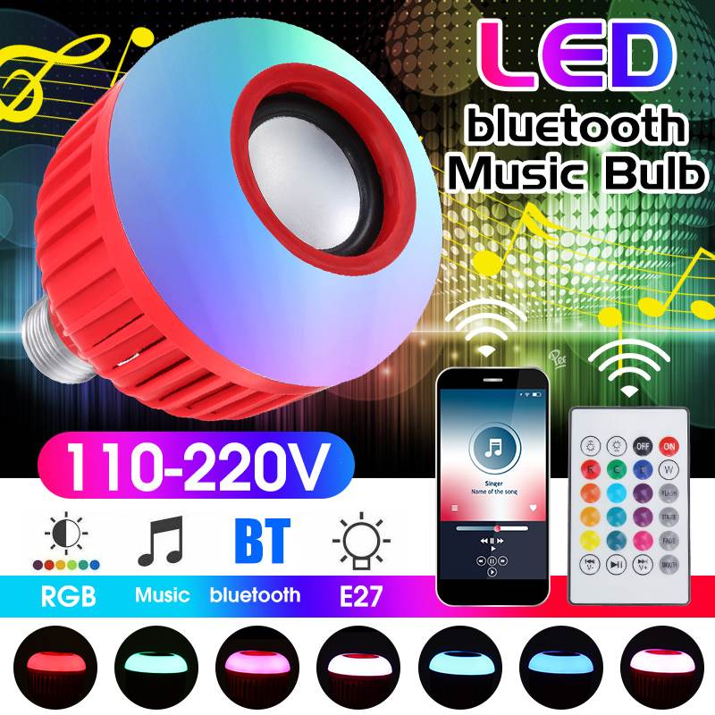 Intelligent E27 12W LED Bulb RGB Light Wireless Bluetooth Audio Speaker Music Playing Dimmable Lamp With 24 Key Remote Control