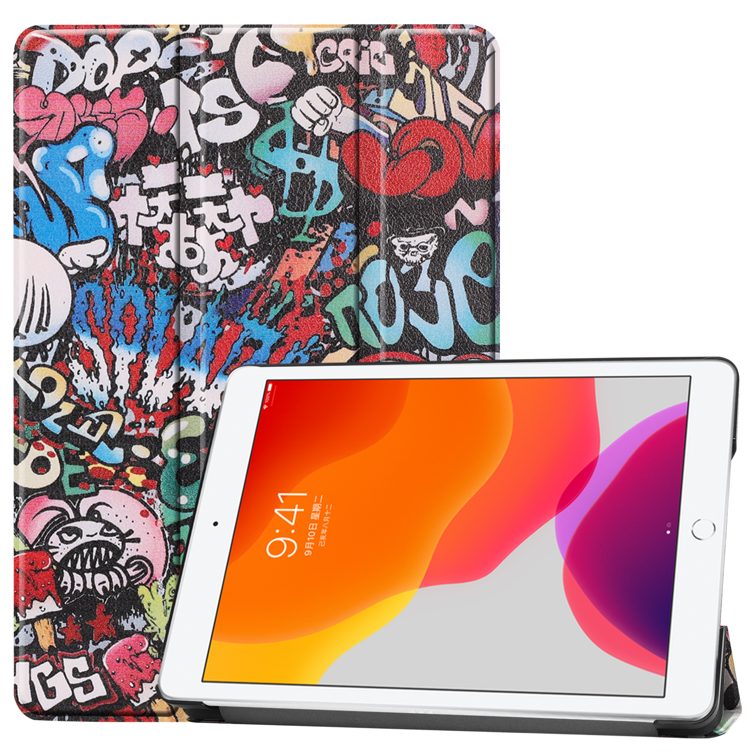 Graffiti White Case For Apple iPad 10 2 2020 iPad 8 8th Generation A2270 A2428 A2429 Leather Magnetic