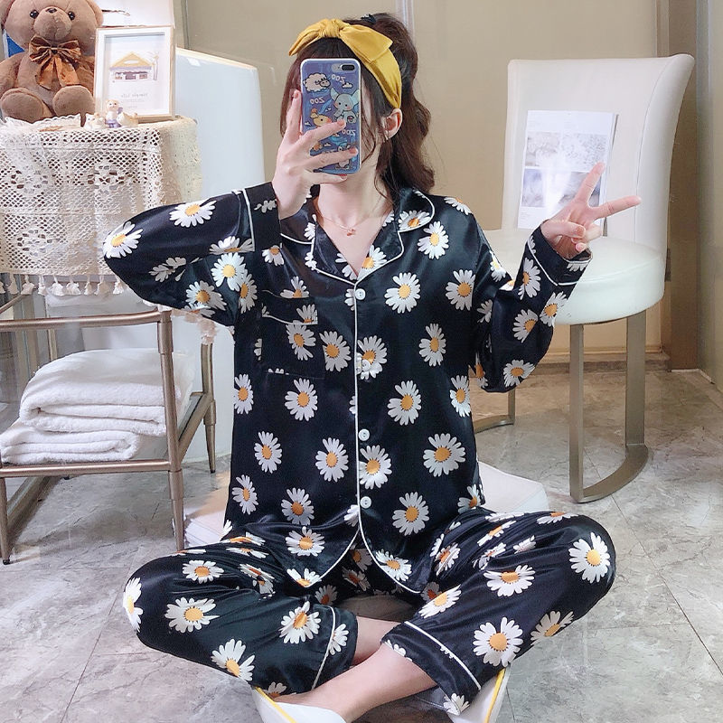 Women's Rayon Silk Pajamas Sexy Stripe Sleepwear Set Women  Pajama Set 2Piece/Suit Top Long Sleeve Belt Shirt Pant Big Homewear