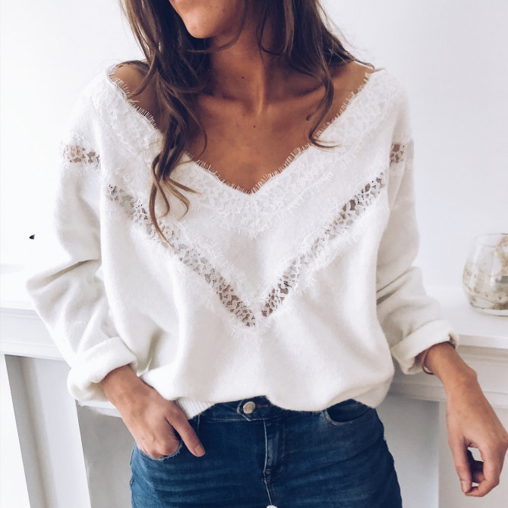 NIBESSER Sexy Low Cut Lace Patchwork White Long Sleve Women Blouse Sexy Tops Blouse Fall Tops Women V Neck Lace Slim Pullover