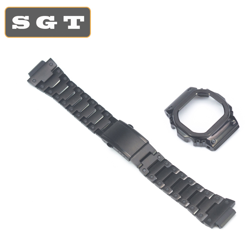 Metal Stainless Steel Watchband GW-M5610 DW5600 GW-5000 DW-5030 G-5600 Watch Band And Frame Case Solid Metal Bracelet