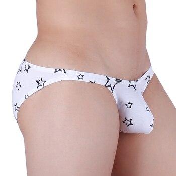 Sexy Gay Men Underwear Briefs Jockstrap Star Printed Underpants Cuecas Bikini Male Panties - discount item  50% OFF Men's Underwears