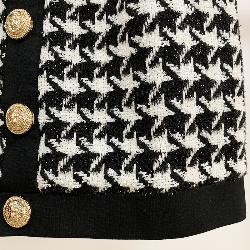 Image 5 - HIGH QUALITY Newest 2020 Designer Skirt Womens Lion Buttons Shimmer Tweed Houndstooth Mini SkirtSkirts