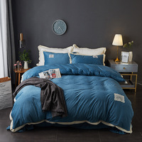 DIGYHOME Crystal Velvet Bedding Set High Quality Solid Color Bed Sheet Quilt Cover Pillowcases 4pcs Flannel Bed Linen Set
