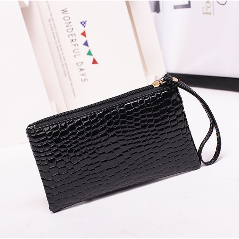 Wmnuo Clutches Women PU Leather Long Purse Ladies Handbag Card Holder Coin Bag Female Zipper Wallet Girl Low Price Black