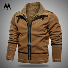 Jacket Motorcycle Leather Coat Mens Clothing Vintage Winter Warm Thick Wool Brand-New