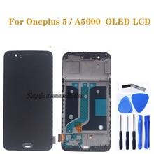 AMOLED عرض ل Oneplus 5 A5000 OLED شاشة الكريستال السائل + مجموعة المحولات الرقمية لشاشة تعمل بلمس ل Oneplus خمسة LCD إصلاح أجزاء