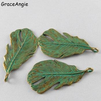 10 piezas árbol hojas colgante aleación verde encantos Patina accesorios llavero anillos joyería hecha a mano DIY regalos Vintage