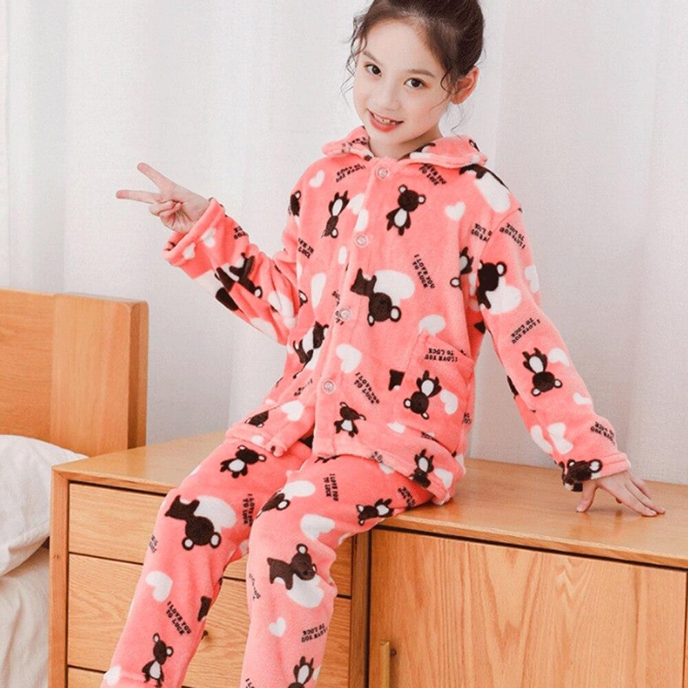 Winter Children Fleece Pajamas Warm Flannel Sleepwear Girls Cartoon Coral Fleece Kids Pijamas Homewear Boys Pyjama