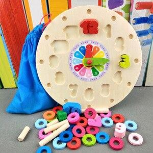 Image 4 - مرحلة ما قبل المدرسة الطفل ألعاب مونتيسوري التعليم المبكر وسائل تعليمية ألعاب الرياضيات ساعة رقمية لعبة خشبية العد شكل هندسي مطابقة
