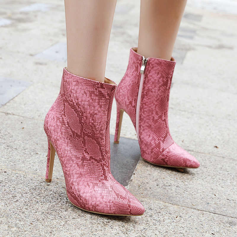 Women Zipper Boots Snake Print Ankle Boots High Heels 11CM Pointed Toe Gray Pink Ladies Sexy Shoes PL0497