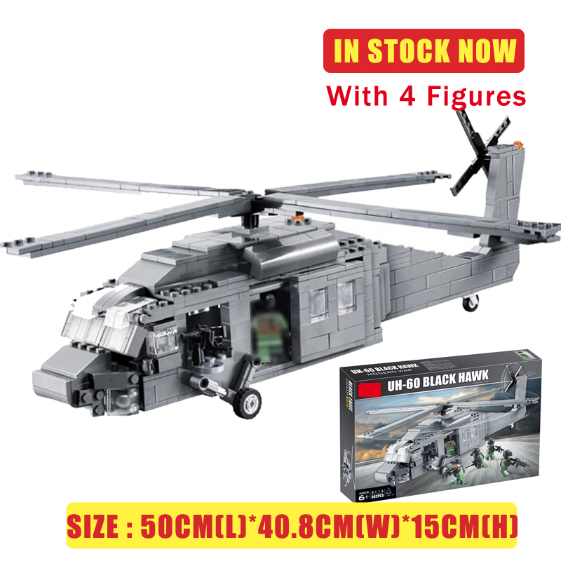 Compatible lepined Technic Military Plane Aircraft UH-60 BLACK HAWK Airplane Helicopter Building Blocks Decool 2114 Bricks Toys image